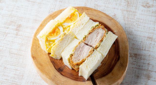 夢前町産「七福卵」の玉子&自凝雫塩のミルフィーユカツのコンビネーションサンドウィッチサムネイル